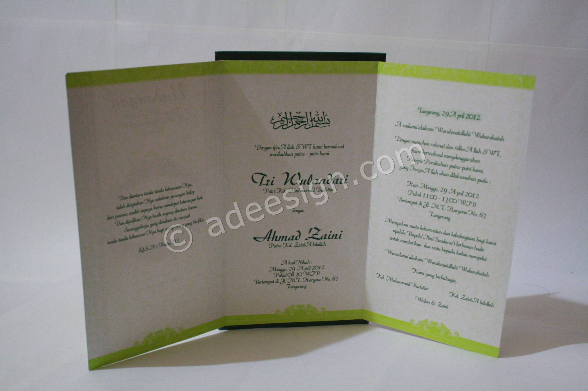 Kartu Undangan Pernikahan Semi Hard Cover Wulan dan Zaini 3 - Percetakan Wedding Invitations Simple dan Elegan di Sawunggaling