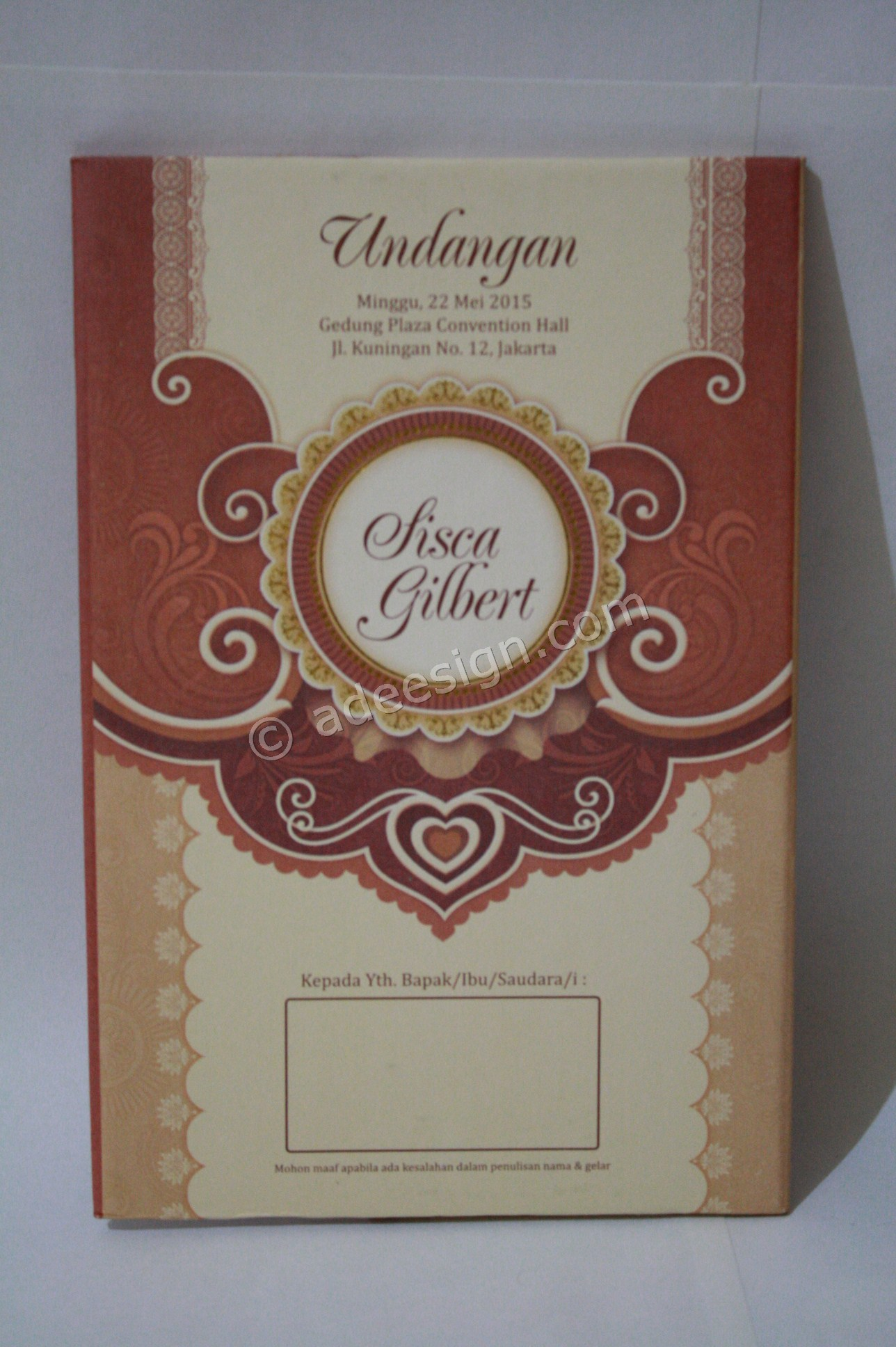 Undangan Pernikahan Hard Cover Sisca dan Gilbert 1 - Membuat Wedding Invitations Simple dan Elegan di Tambak Sarioso