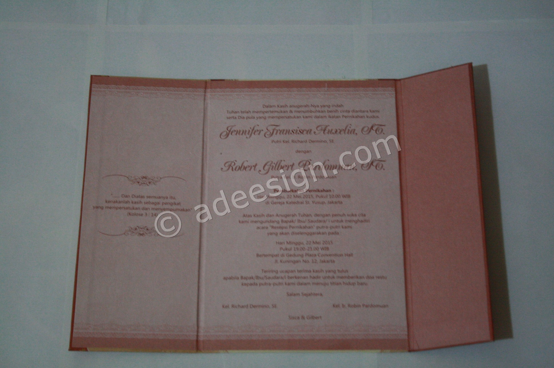 Undangan Pernikahan Hard Cover Sisca dan Gilbert 3 - Percetakan Wedding Invitations Murah di Kapasan