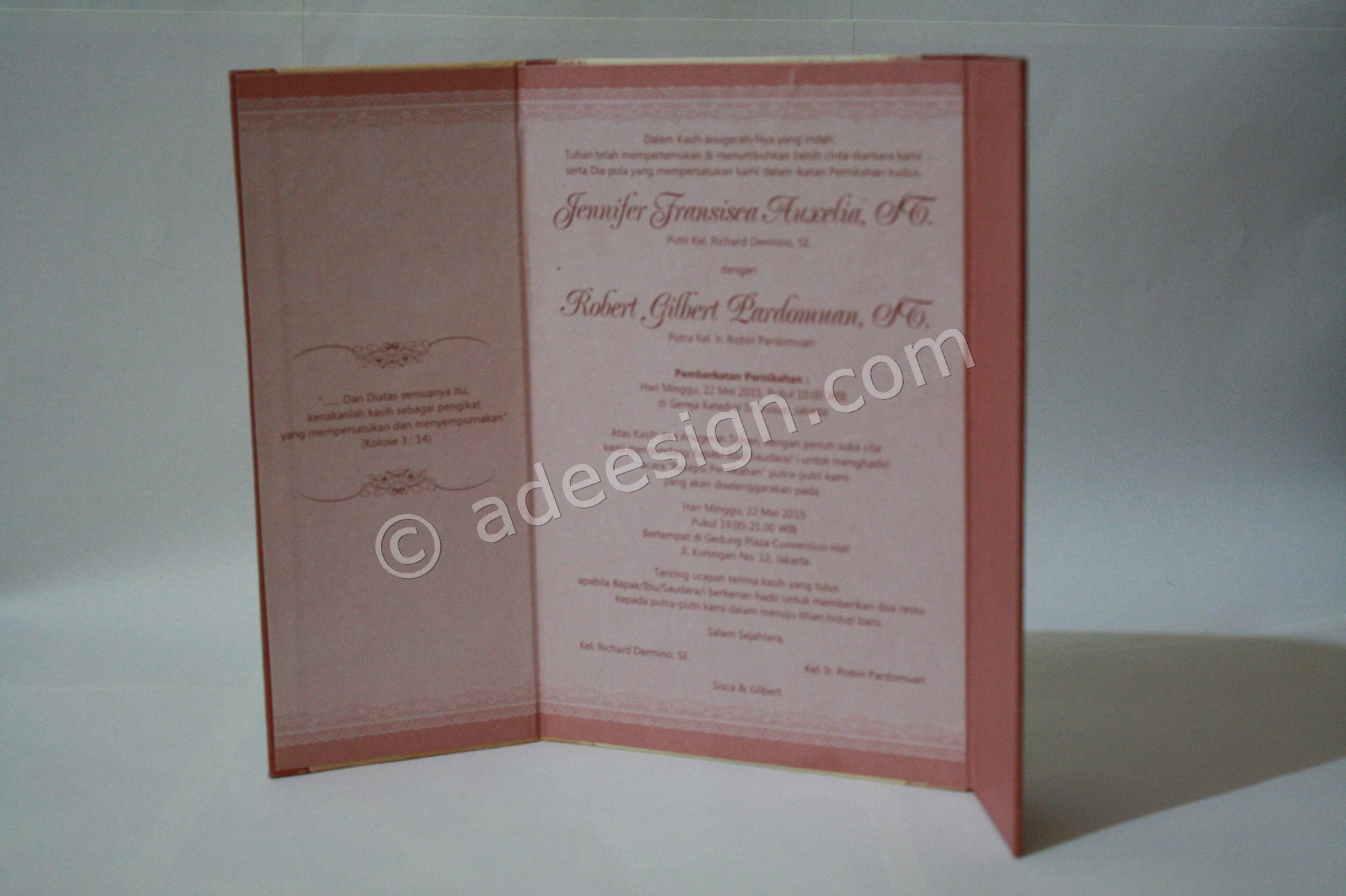 Undangan Pernikahan Hard Cover Sisca dan Gilbert 4 - Pesan Wedding Invitations Simple di Jambangan Karah
