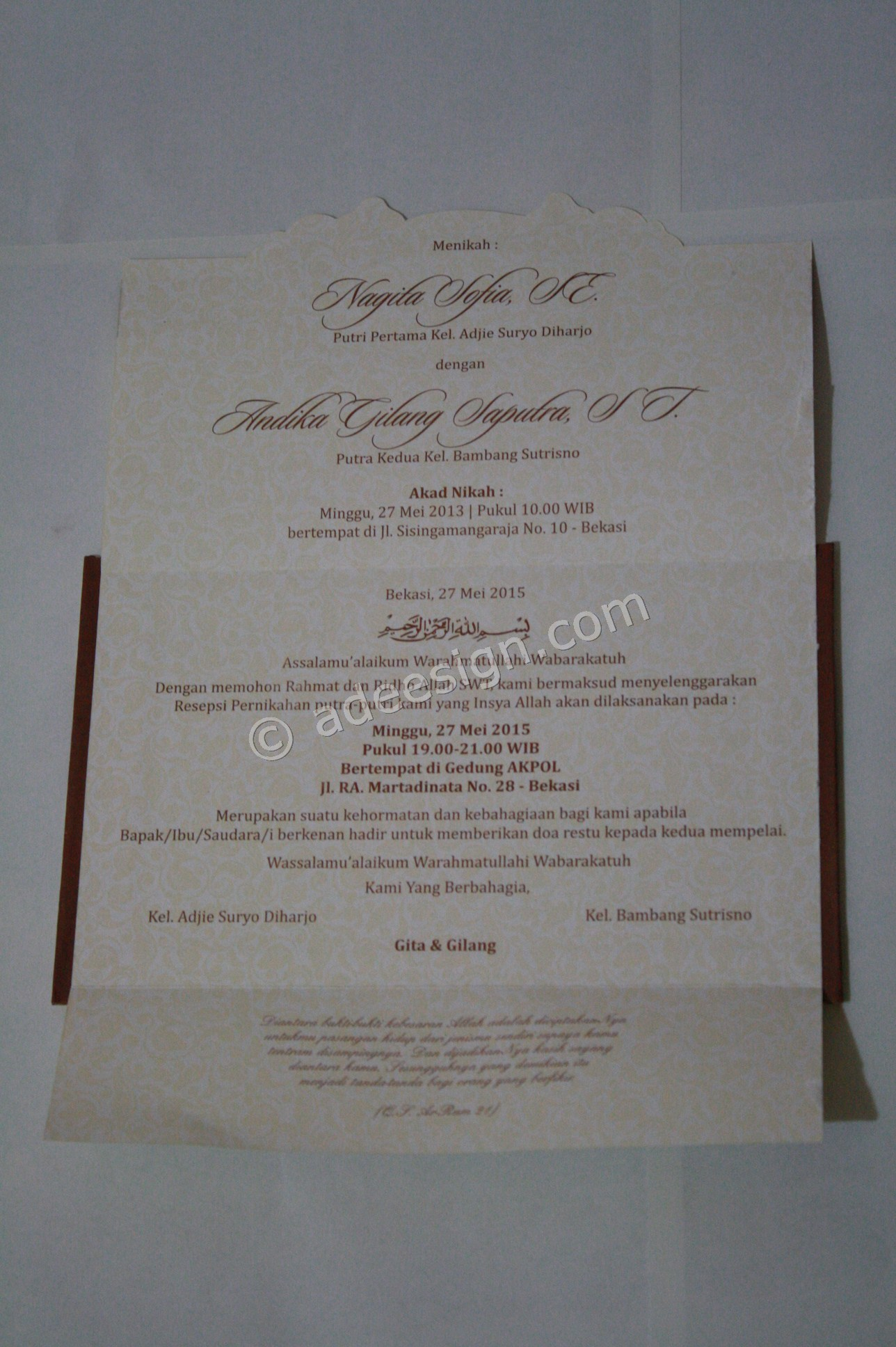 Undangan Pernikahan Semi Hard Cover Gita dan Gilang 2 - Percetakan Wedding Invitations Unik dan Simple di Simomulyo
