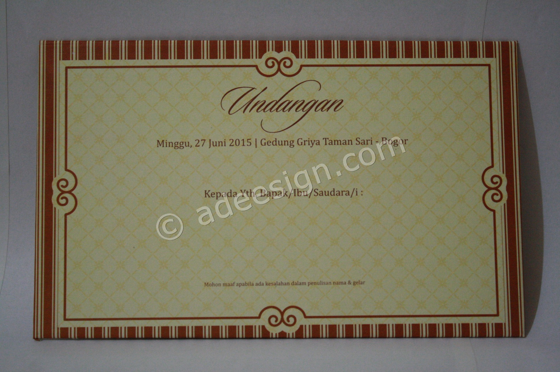 Undangan Pernikahan Semi Hard Cover Nurul dan Imam 1 - Pesan Wedding Invitations Simple di Ploso