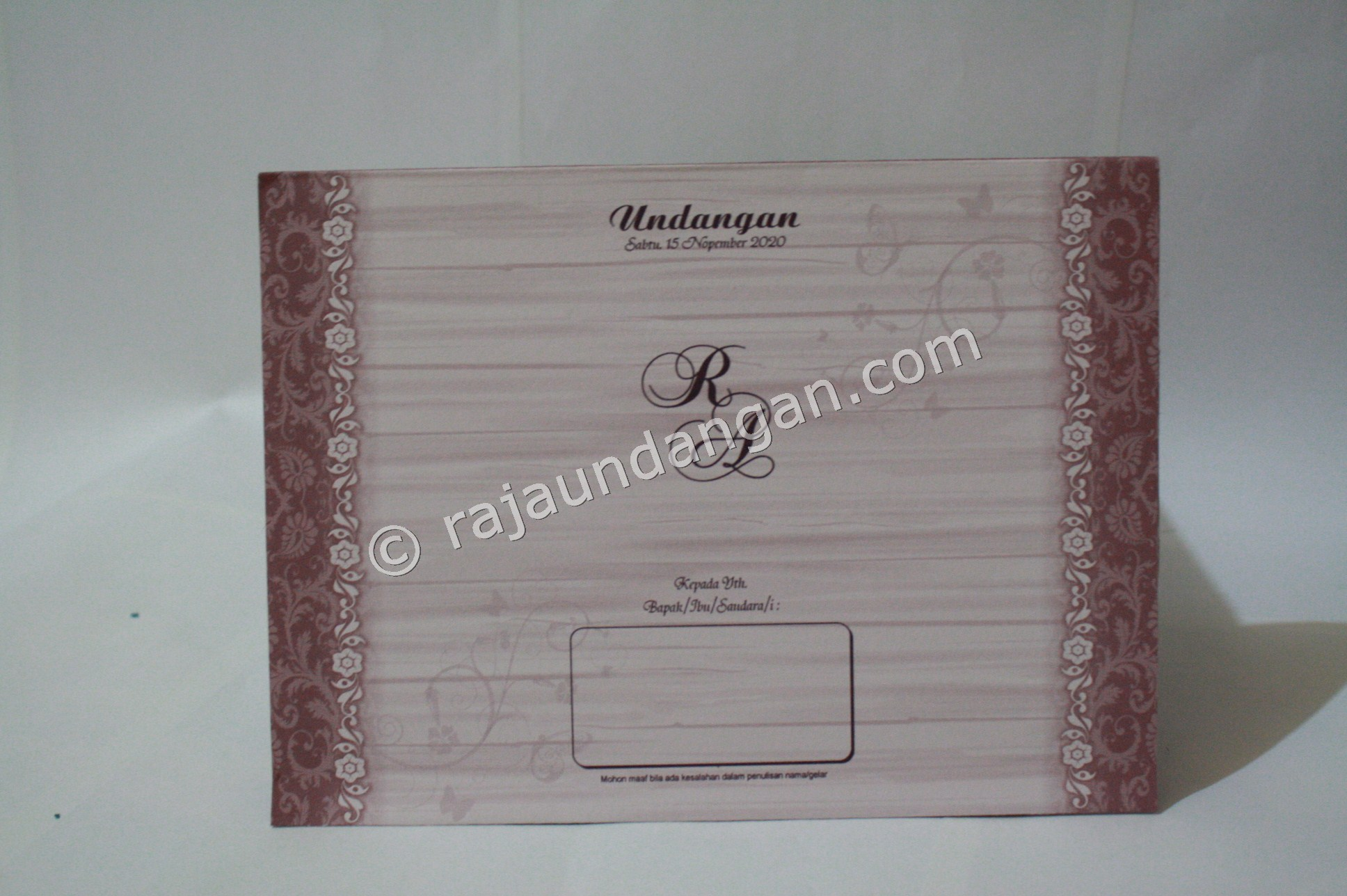 Undangan Pernikahan Softcover Yusuf dan Rani 1 - Percetakan Wedding Invitations Simple dan Elegan di Putat Jaya