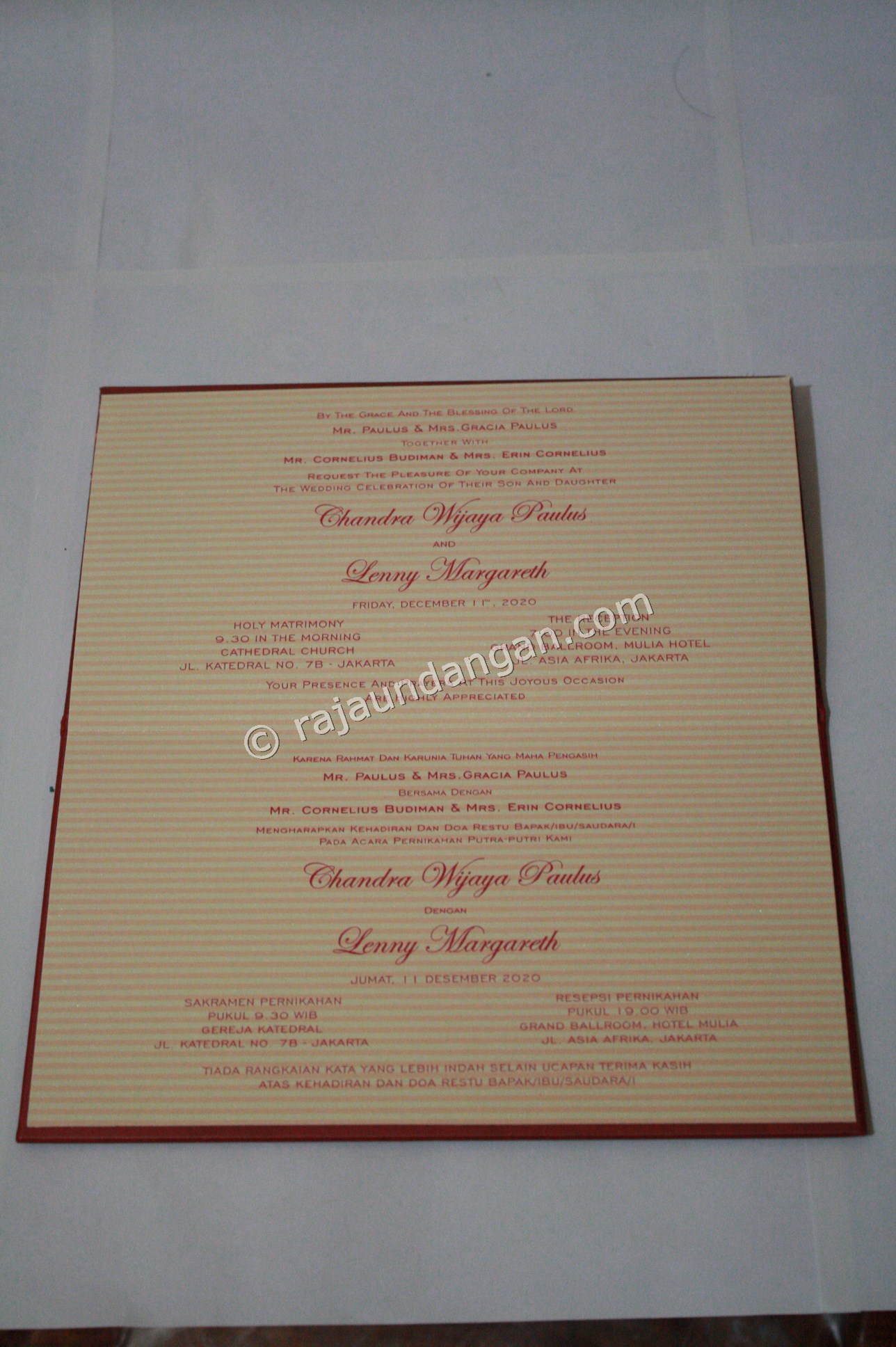 Undangan Unik Murah Eksklusif Chandra Lenny 4 - Pesan Wedding Invitations Simple di Ploso