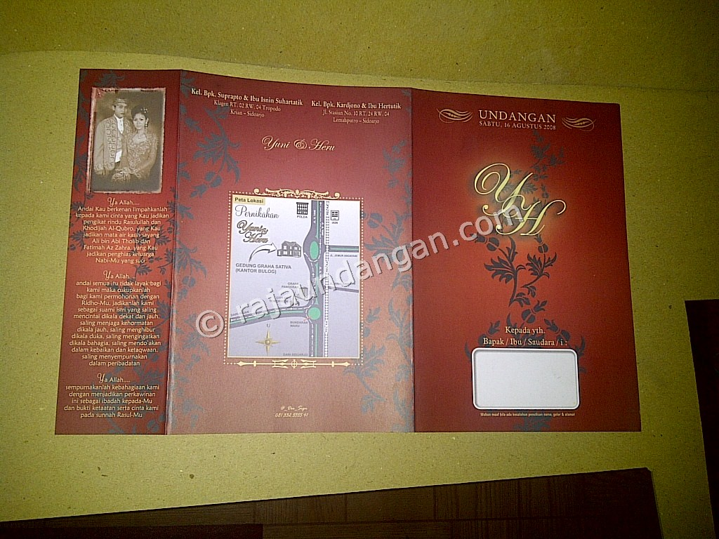 Undangan Softcover Yuni dan Heru 5 - Percetakan Wedding Invitations Simple dan Elegan di Putat Jaya