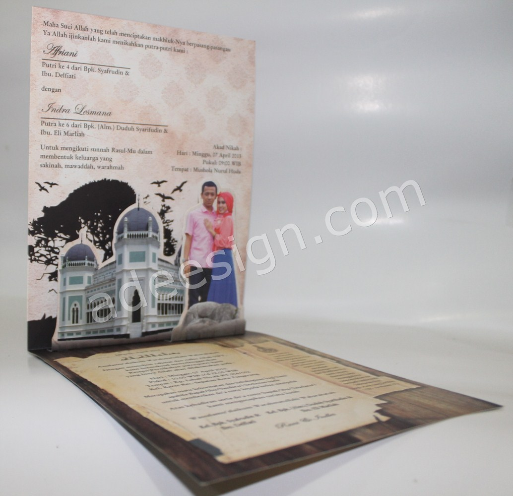 Undangan Pernikahan Islami Pop Up - Membuat Wedding Invitations Unik dan Murah di Kedungdoro