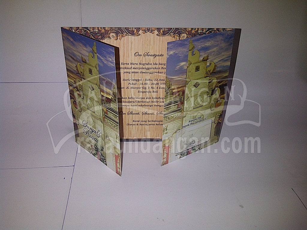 Undangan Motif Bali Softcover Surya dan Rosita 3 - Pesan Wedding Invitations Simple di Ploso