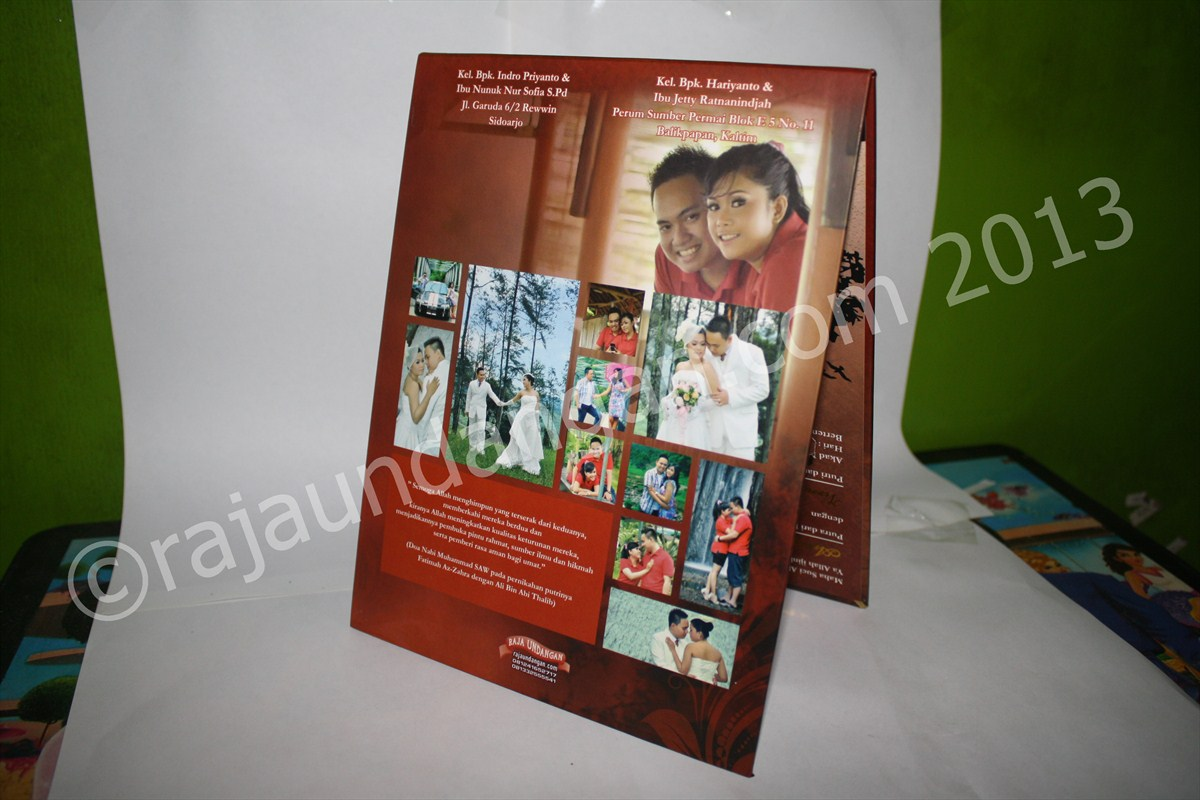 Undangan Pernikahan Pop Up Hardcover Aris dan Virra 2 - Pesan Wedding Invitations Simple di Jambangan Karah