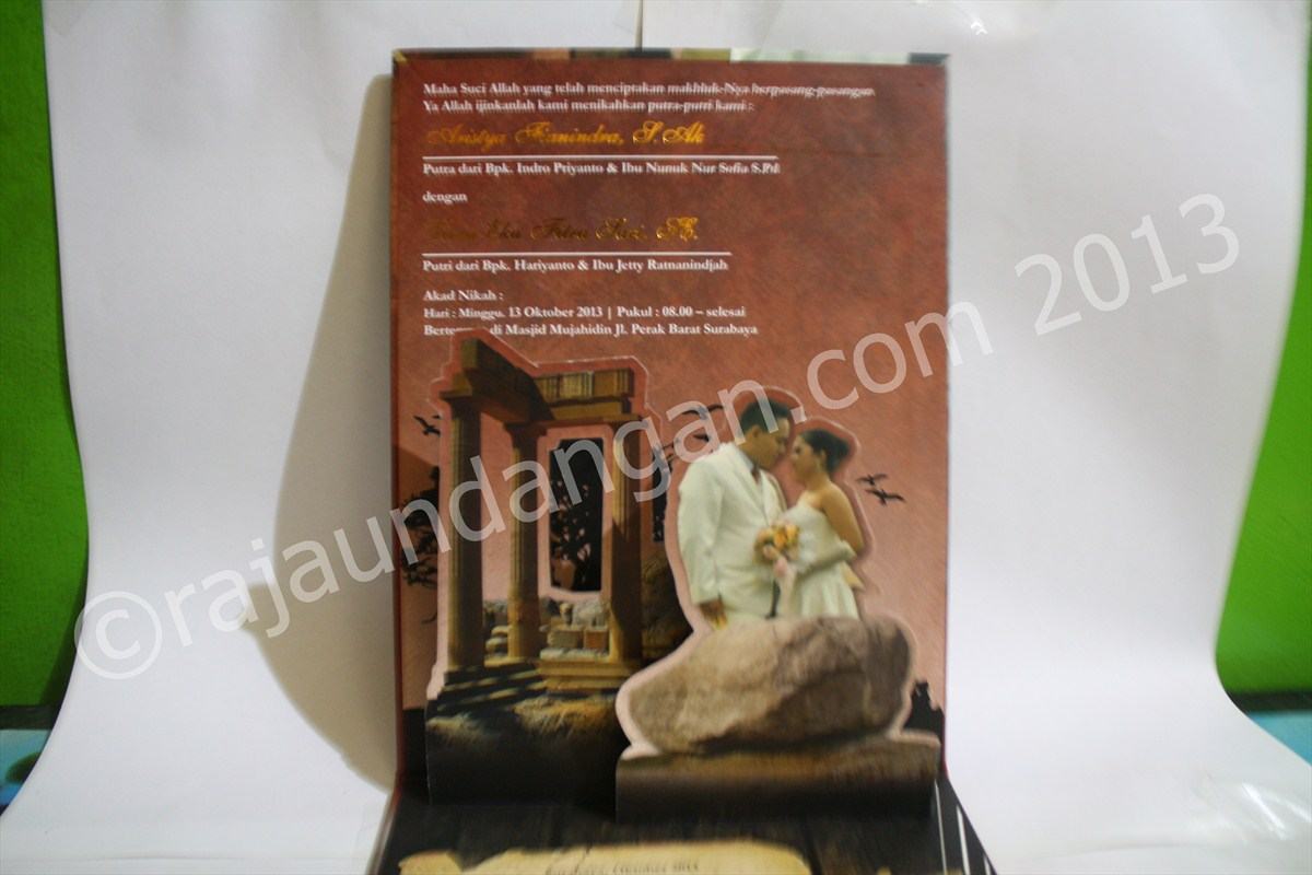 Undangan Pernikahan Pop Up Hardcover Aris dan Virra 5 - Percetakan Wedding Invitations Unik dan Eksklusif di Tandes