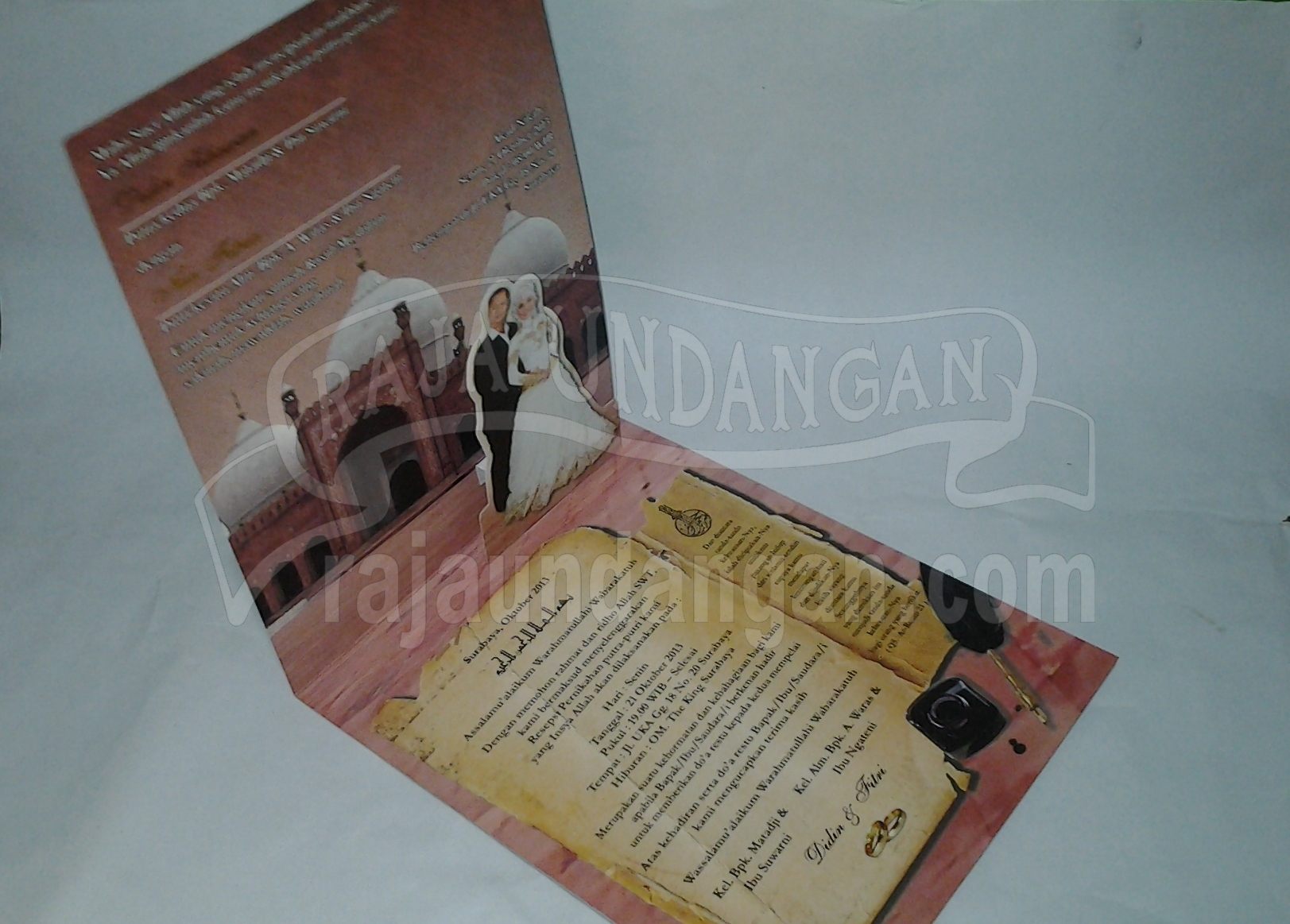 Undangan Pernikahan Softcover Mini Pop Up Didin dan Fitri 3 - Cetak Wedding Invitations Unik di Babakan Jerawat