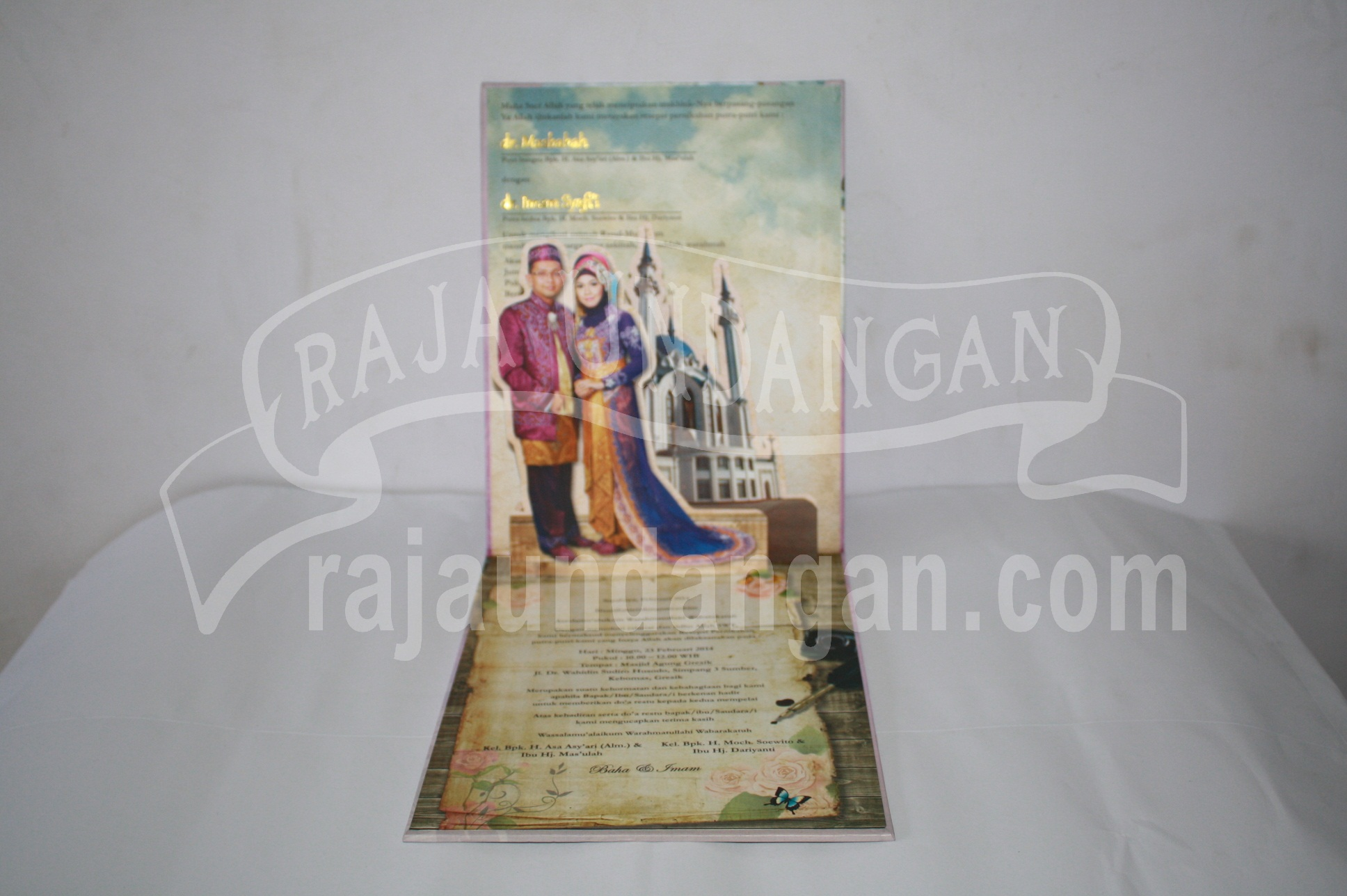 Undangan Pernikahan Hardcover Pop Up 3D Baha dan Imam EDC 49 33 - Percetakan Wedding Invitations Unik dan Simple di Simomulyo