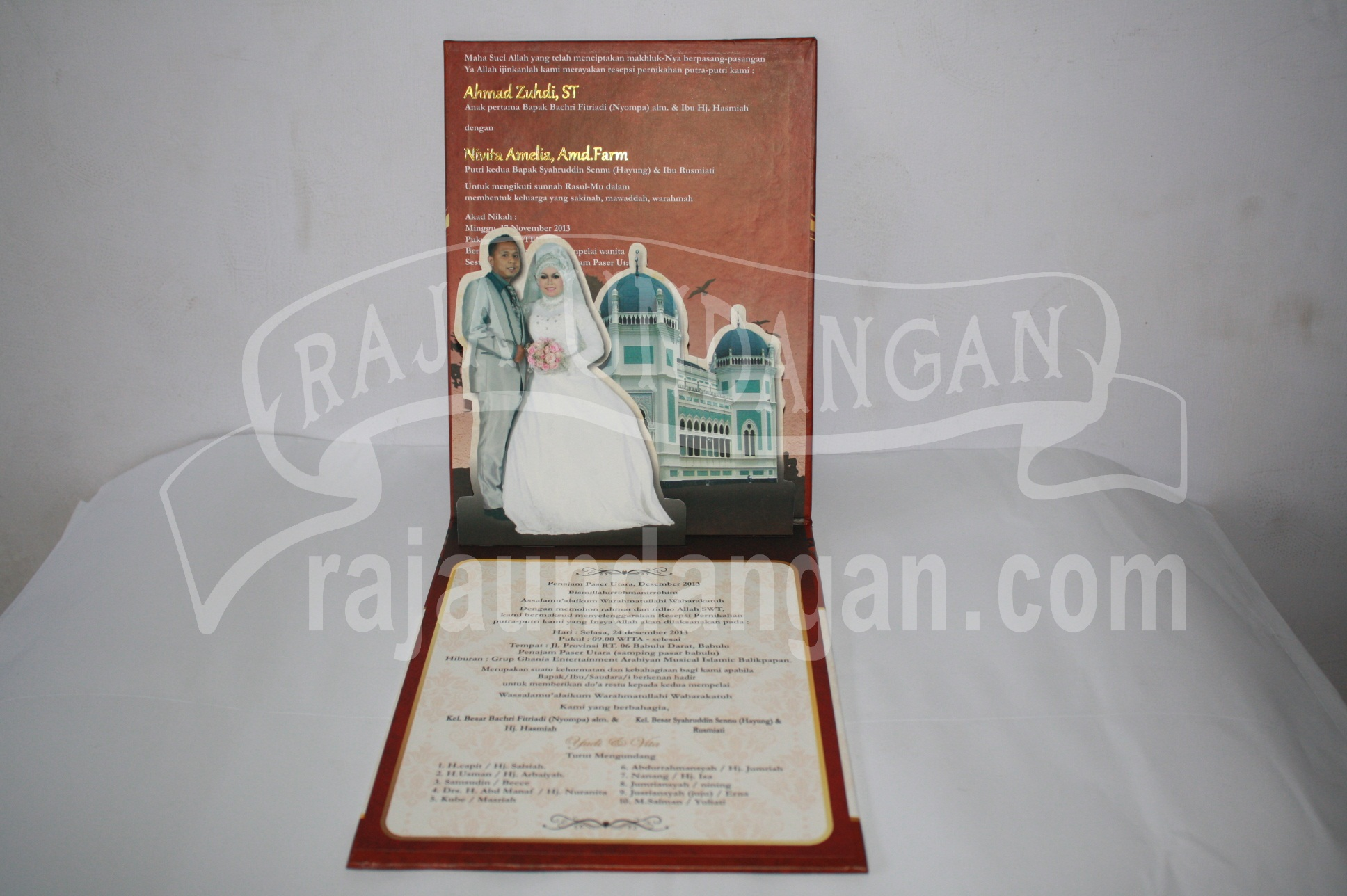 Undangan Pernikahan Hardcover Pop Up Pakai Amplop Yudi dan Vita EDC 44 2 - Percetakan Wedding Invitations Unik dan Simple di Simomulyo