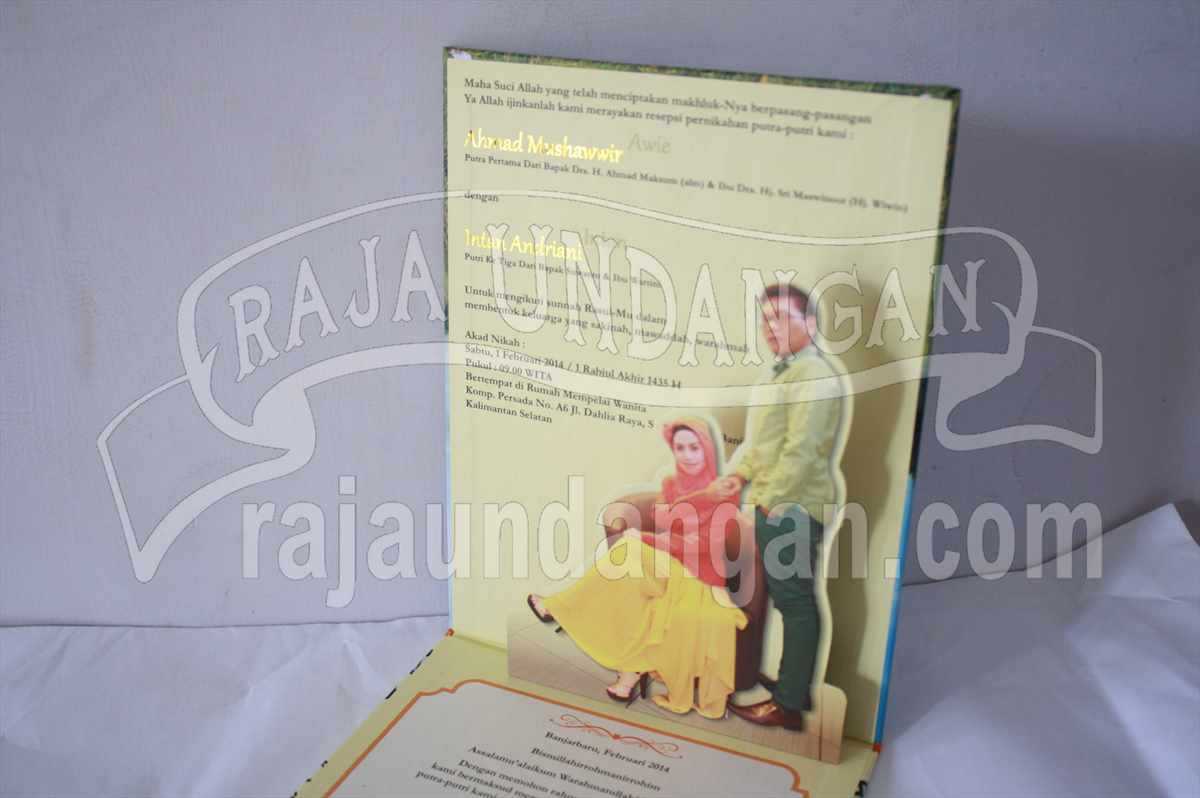 Hardcover Pop Up Awie Intan 4 - Percetakan Undangan Pernikahan Unik dan Simple di Sidodadi