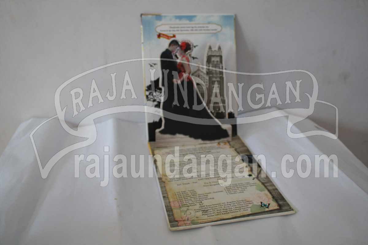 Hardcover Pop Up Kia Maya 3 - Pesan Wedding Invitations Simple di Ploso