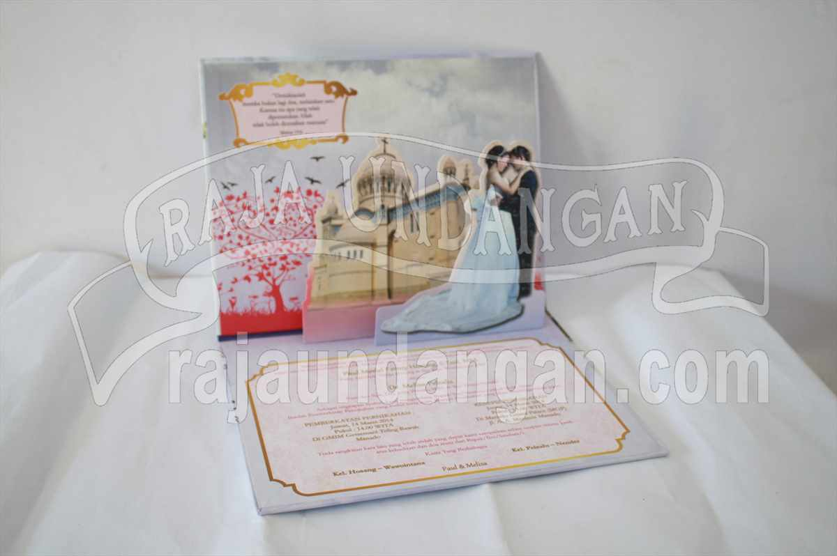 Hardcover Pop Up Paul Melisa 3 - Pesan Wedding Invitations Unik dan Eksklusif di Surabaya