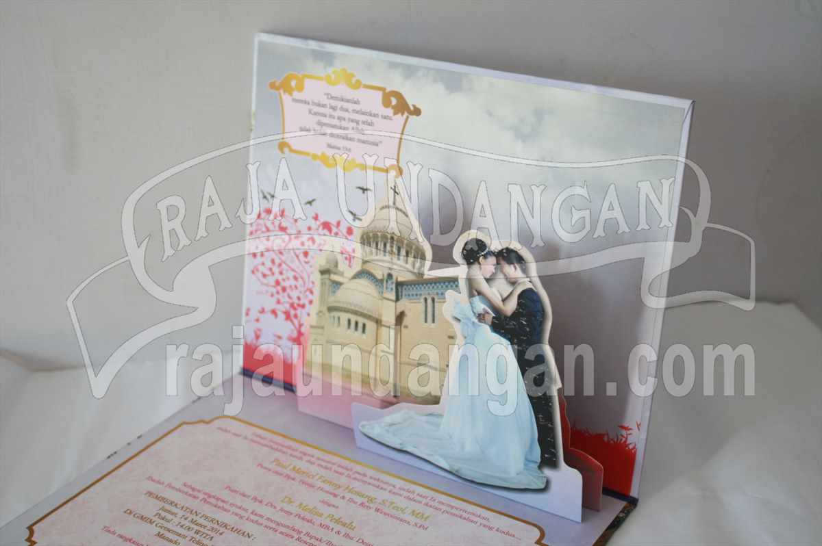 Hardcover Pop Up Paul Melisa 5 - Pesan Wedding Invitations Elegan di Dukuh Sutorejo
