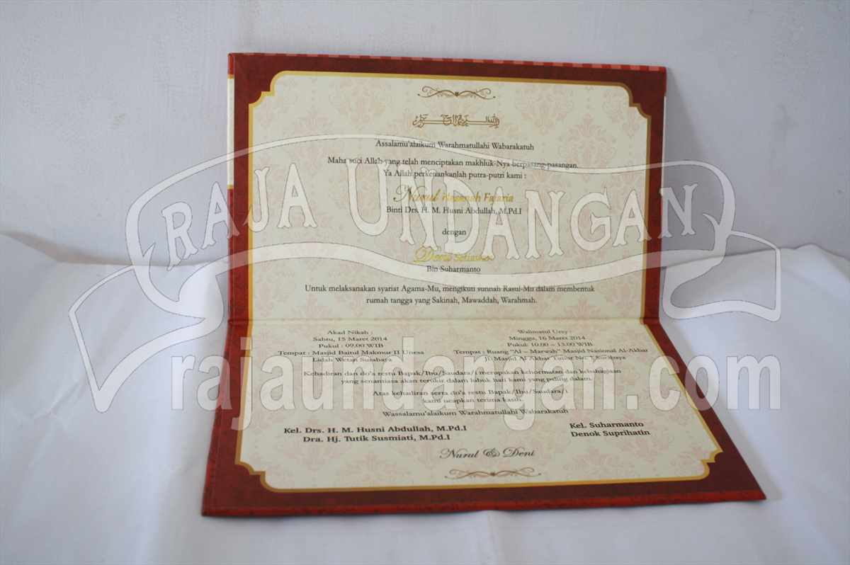 Undangan Hardcover Nurul Deni 4 - Percetakan Wedding Invitations Simple dan Elegan di Sawunggaling