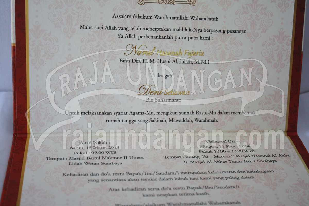Undangan Hardcover Nurul Deni 5 - Tips Mencetak Wedding Invitations Simple
