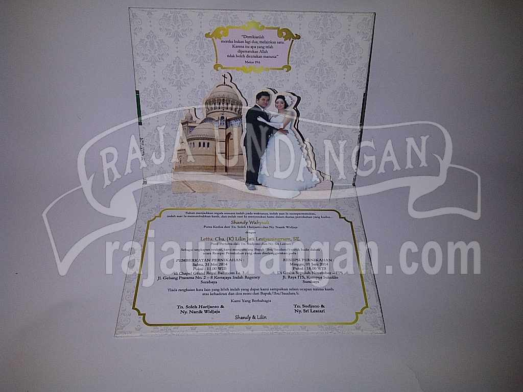 Undangan Hardcover pop up Shandy Lilin 3 - Membuat Undangan Perkawinan Simple di Kedungcowek