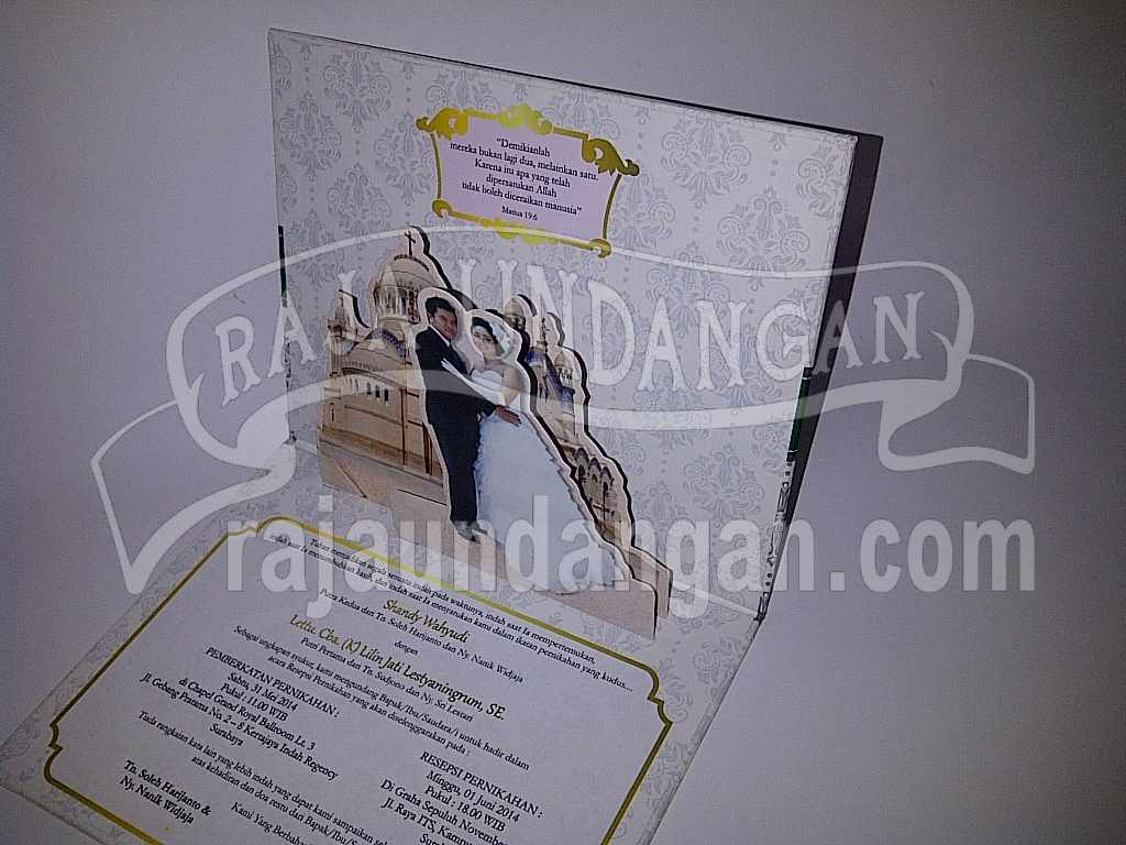 Undangan Hardcover pop up Shandy Lilin 4 - Percetakan Wedding Invitations Unik dan Simple di Dukuh Sutorejo