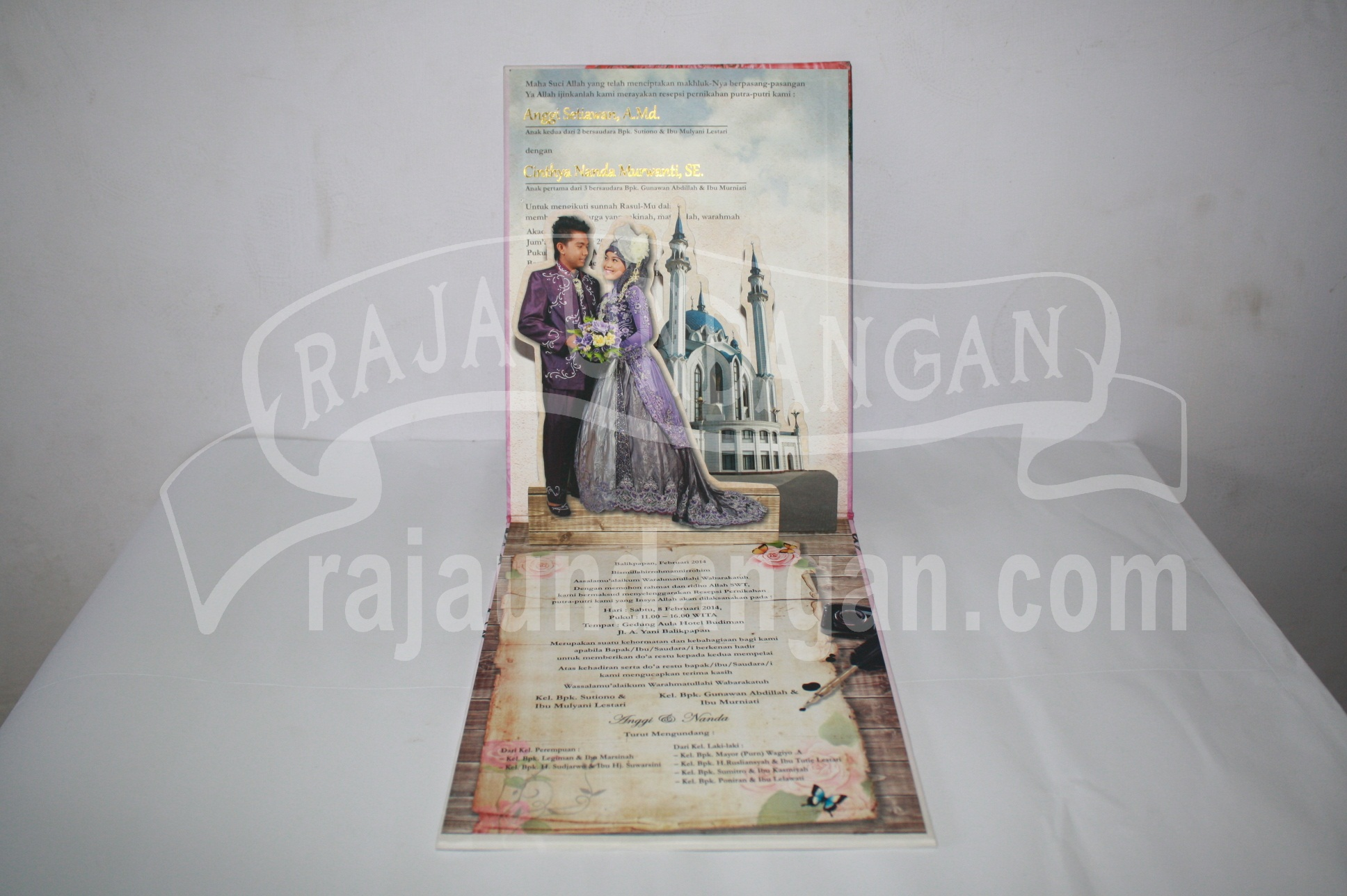 Undangan Pernikahan Hardcover Pop Up Pakai Amplop Anggi dan Nanda 2 - Percetakan Wedding Invitations Eksklusif di Dukuh Setro
